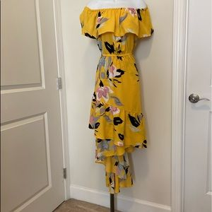 Lane Bryant Yellow floral hilo off shoulder dress